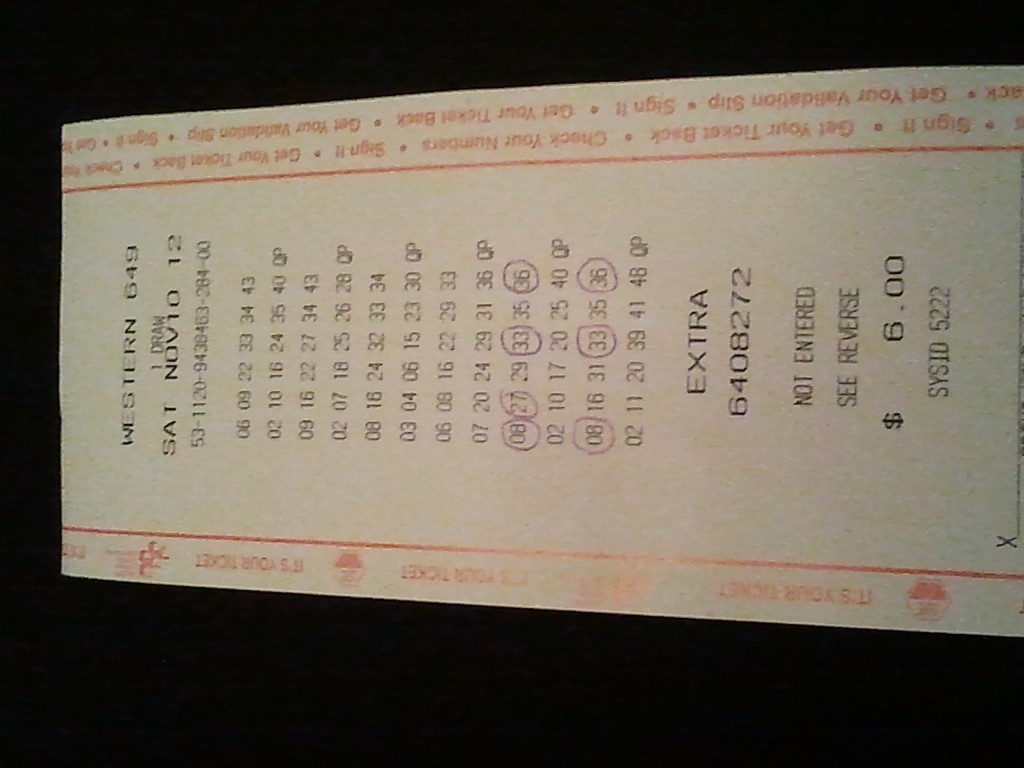 Western 649 Winning Ticket
